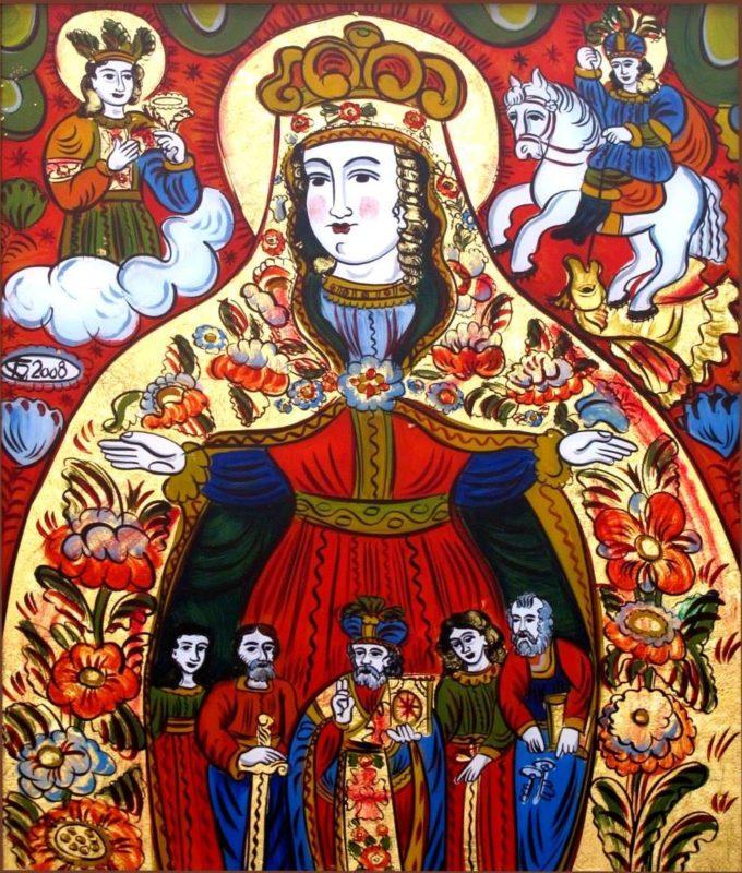 Гуцульський образ Покрови на склі