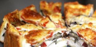 Листковий пиріг із грибами та сиром рецепт
