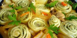 Нудлі з картоплею і яловичиною рецепт