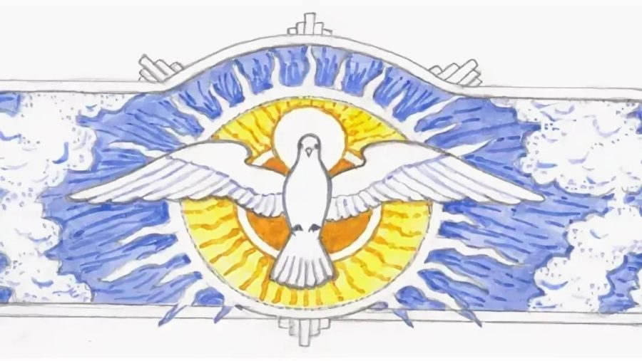 Ікона Дух святий, виконана на склі