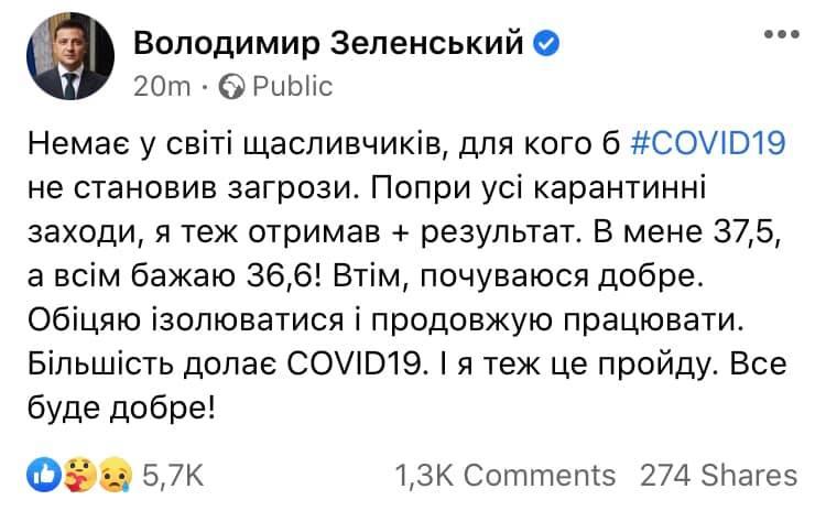 Пост Зеленського в Facebook