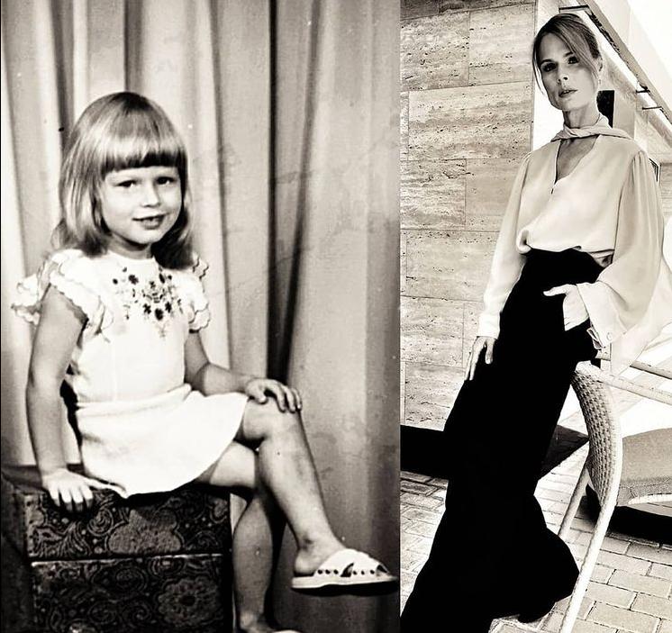 Ольга Фреймут в дитинстві і зараз