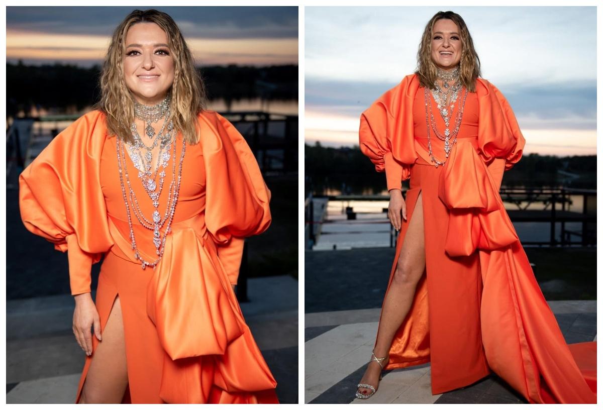 Наталя Могилевська у помаранчевій сукні
