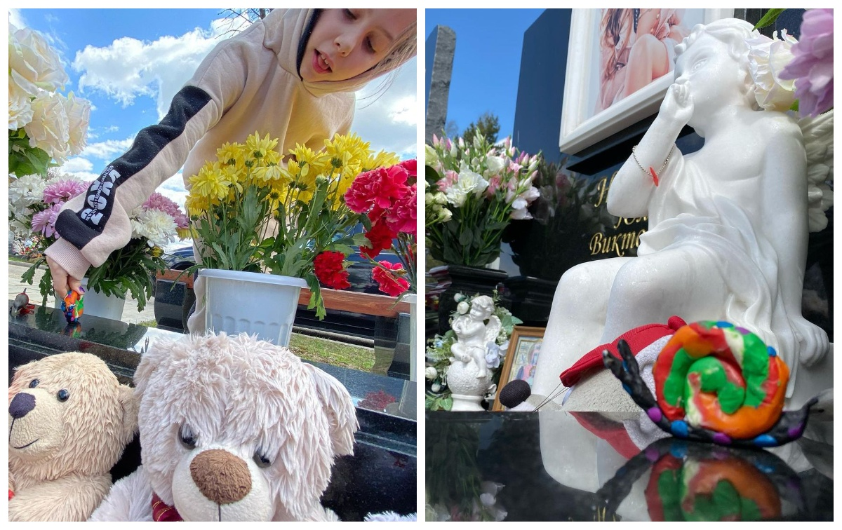Онучка Лариси Доліної на могилі Юлії Началової