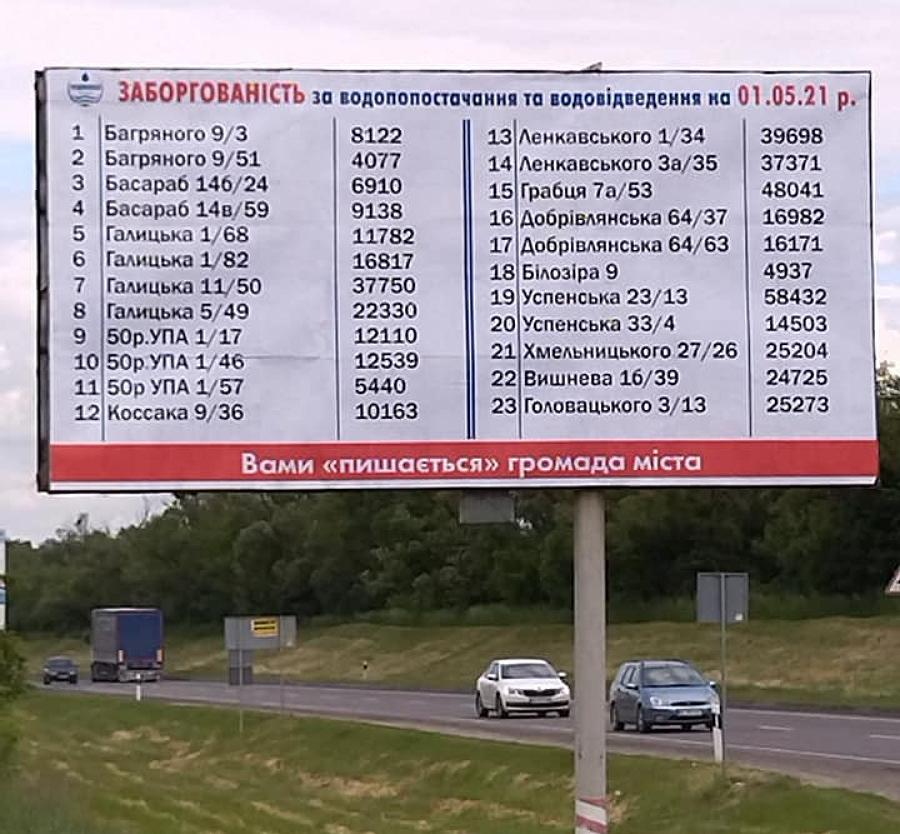 Білборди з адресами боржників за воду в місті Стрий